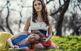 Preview wallpaper Girls in the grass, sisters