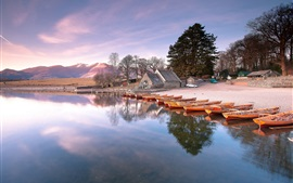Preview wallpaper Lake, beach, boats, houses, trees, morning, sunrise