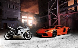 Lamborghini Aventador orange supercar, Yamaha white motorcycle
