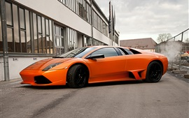 Preview wallpaper Lamborghini Murcielago LP640 orange supercar side view