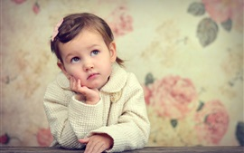 Preview wallpaper Little girl, sadness, look