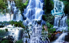 Preview wallpaper Many waterfalls, nature scenery