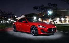 Preview wallpaper Maserati GT red supercar at night