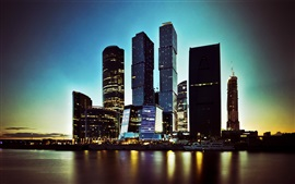 Moscow city, skyscrapers, river, night, lights