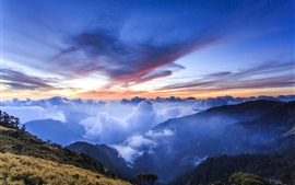 Preview wallpaper Mountains, hills, altitude, clouds, blue, sunrise