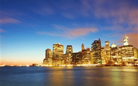 New York, Manhattan, buildings, lights, sea, dusk
