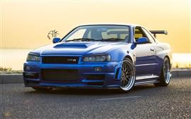 Aperçu fond d'écran Nissan GTR R34 voiture bleue