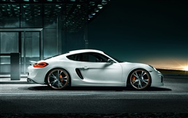 Porsche Cayman white car side view Wallpapers Pictures Photos Images