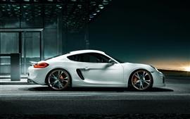 Aperçu fond d'écran Porsche Cayman vue de côté de la voiture blanche