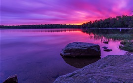 Preview wallpaper Purple sunset, forest, lake, rocks