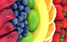 Preview wallpaper Rainbow fruits, strawberry, orange, banana, lemon, blackberry, plum