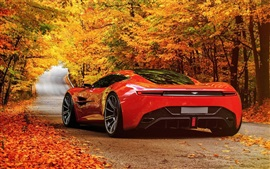 Preview wallpaper Red Aston Martin DBC concept car, road, autumn