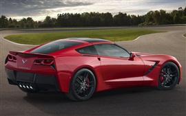 Preview wallpaper Red Chevrolet Corvette Stingray C7 supercar side view