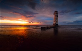 Preview wallpaper Sea, evening, sunset, clouds, lighthouse