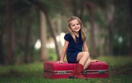Preview wallpaper Smile cute girl, child, forest, box