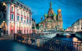 Preview wallpaper St. Petersburg, Russia, river, evening, lights