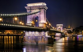 Szechenyi Chain Bridge, Budapest, Hungary, Danube river, night, lights