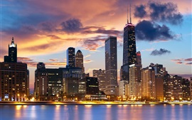 USA, Illinois, Chicago, city, buildings, lights, dusk