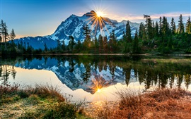 USA, Washington, Mount Baker volcano, lake, reflection, morning, sunrise, forest