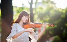 Preview wallpaper Violinist, east girl, forest, sunlight
