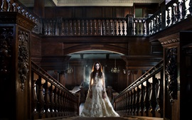 Preview wallpaper White dress girl, room, stairs, railings