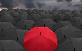 3D black umbrellas, lonely red umbrella Wallpapers Pictures Photos Images