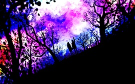Preview wallpaper Art pictures, couple, nature, trees, stars, purple