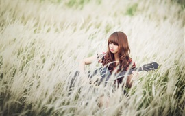 Asian girl, grass, guitar, music