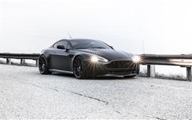 Preview wallpaper Aston Martin Vantage black car in road