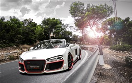 Preview wallpaper Audi R8 white car, sunset, road, trees