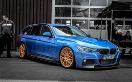 Preview wallpaper BMW F30 330D blue car side view