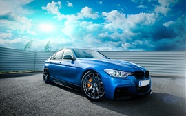 BMW F30 335i blue car, sky, clouds