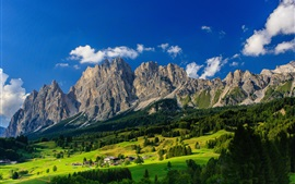 Preview wallpaper Bavaria, Germany, mountains, village, trees, green, blue