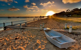 Beach, sand, boat, sunset, water