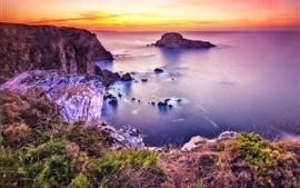 Belleza de la costa, mar, playa, puesta de sol, las piedras