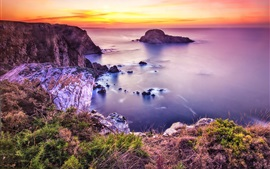 Beautiful coast, sea, beach, sunset, stones
