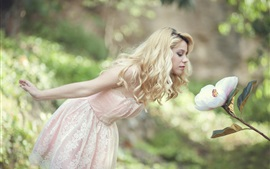 Preview wallpaper Blonde girl, white dress, flower