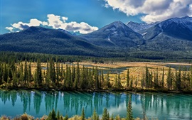 Preview wallpaper Bow River, Alberta, Canada, trees, mountains, clouds