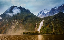 Preview wallpaper Bowen River, Milford Sound, New Zealand, waterfalls, mountains