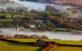 Preview wallpaper Britain, countryside, winter, fog, morning, houses