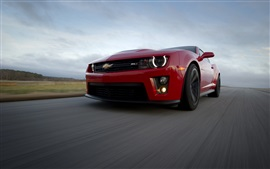 Preview wallpaper Chevrolet Camaro zl1 red supercar front view