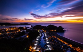China, Taiwan, island, ocean, sunset, city night