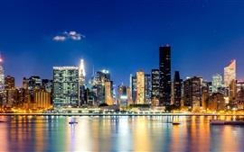 City, New York, Manhattan, noite, arranha-céus, prédios, luzes, água