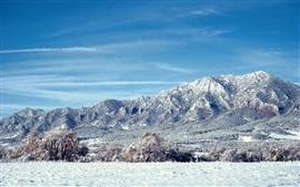 Colorado landscape, mountains, snow, trees
