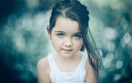 Preview wallpaper Cute little girl look, portrait, bokeh