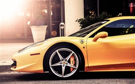Preview wallpaper Ferrari 458 Italia yellow supercar side view