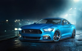 Preview wallpaper Ford Mustang GT blue supercar