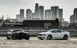 Preview wallpaper Ford Mustang black car, Chevrolet Camaro white car