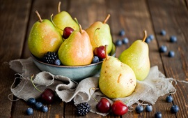 Preview wallpaper Fruits, pears, cherries, blackberries, blueberries