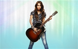 Preview wallpaper Girl, guitar, long hair, jewelry